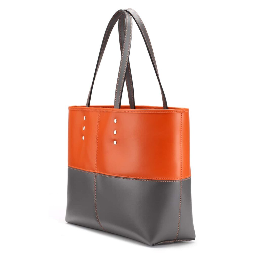 Tusting Ashton Tote bag, Leder, orange/grau 2