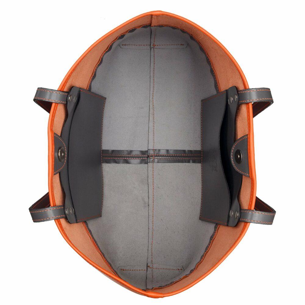 Tusting Ashton Tote bag, Leder, orange/grau 4