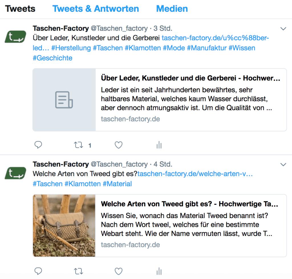 Twitter Account von Taschen Factory