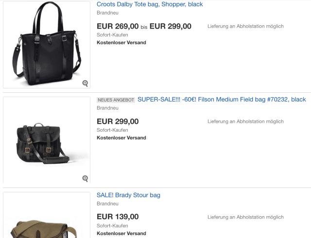 Taschen Abverkauf
