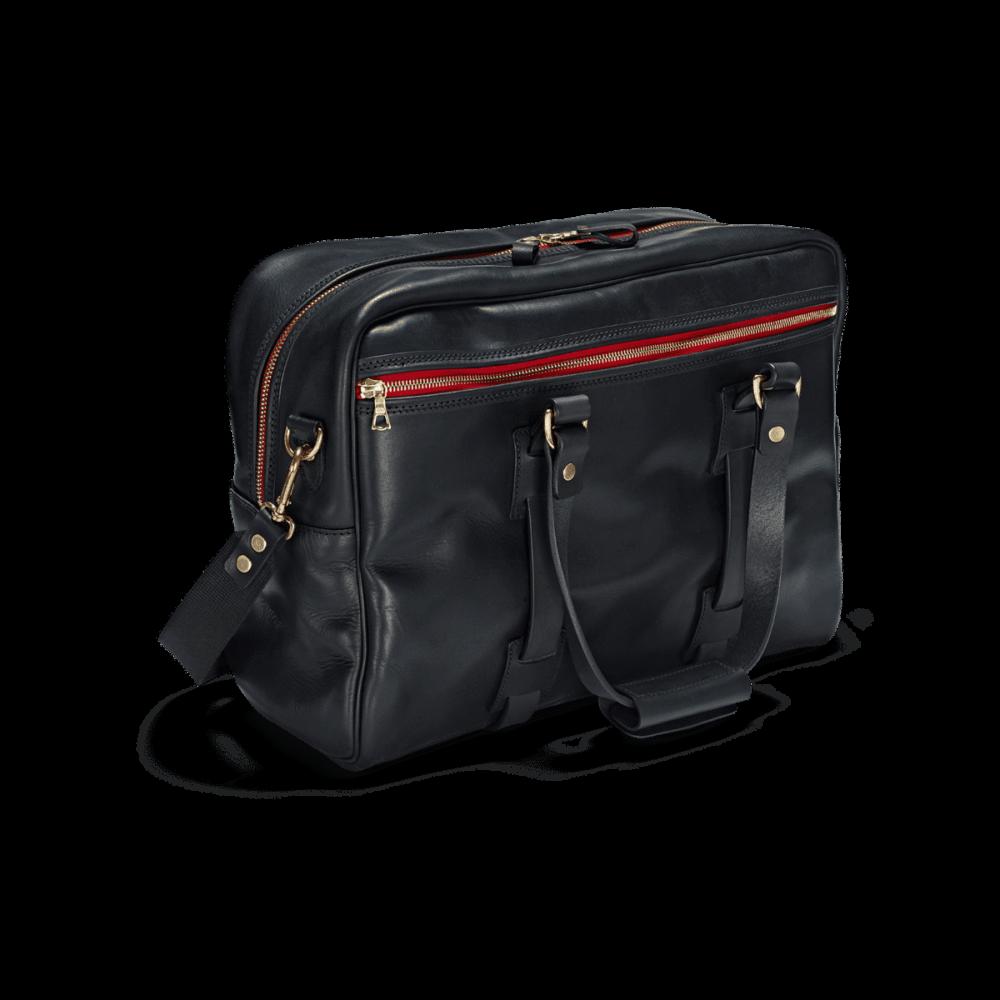 Die Reisetasche Vintage Leder Traveller in Schwarz im Bildvordergrund