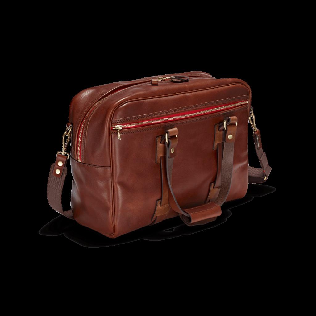 Die Reisetasche Vintage Leder Traveller in der Frabe Port im Bildvordergrund