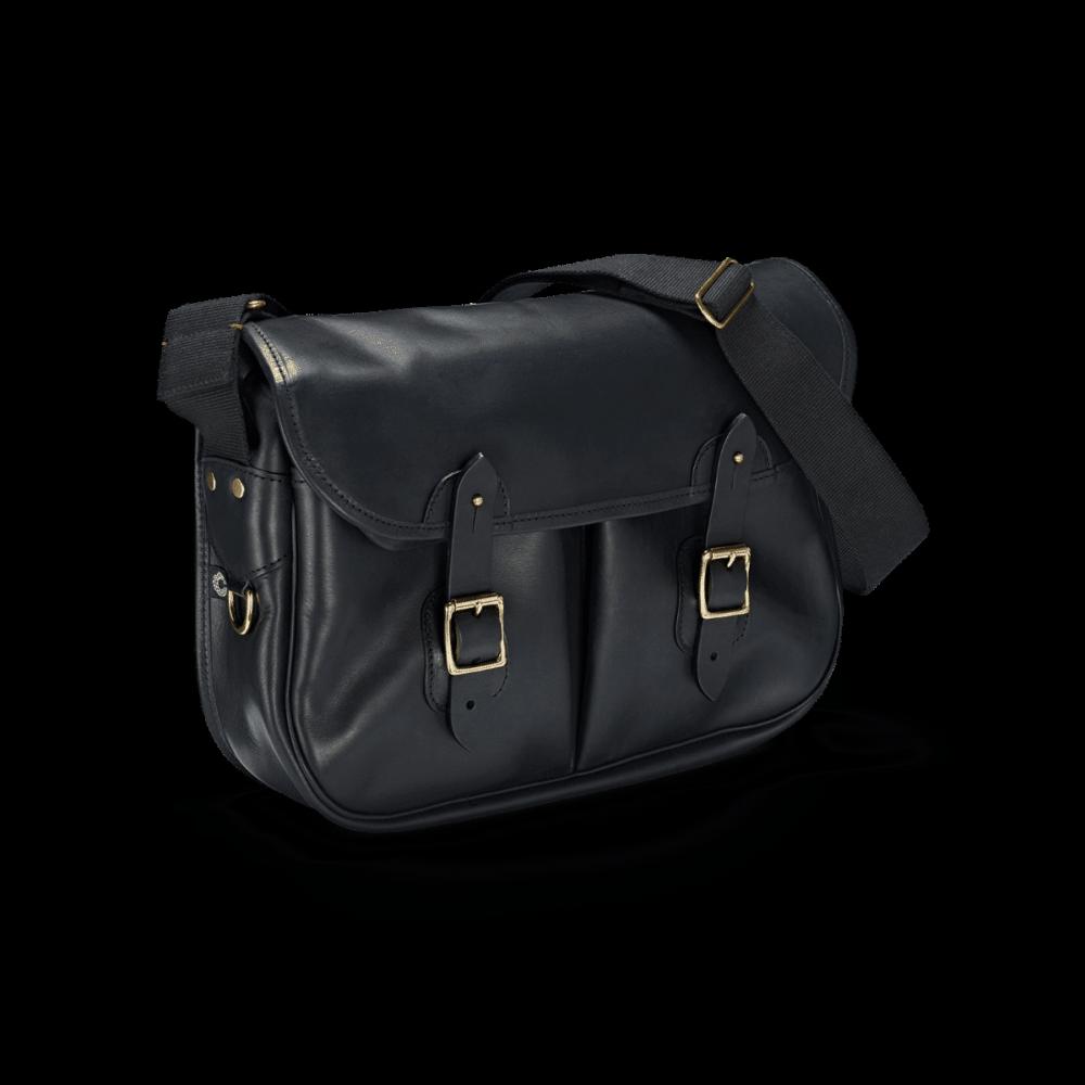 Vintage Leather Carryall Black in Frontalansicht