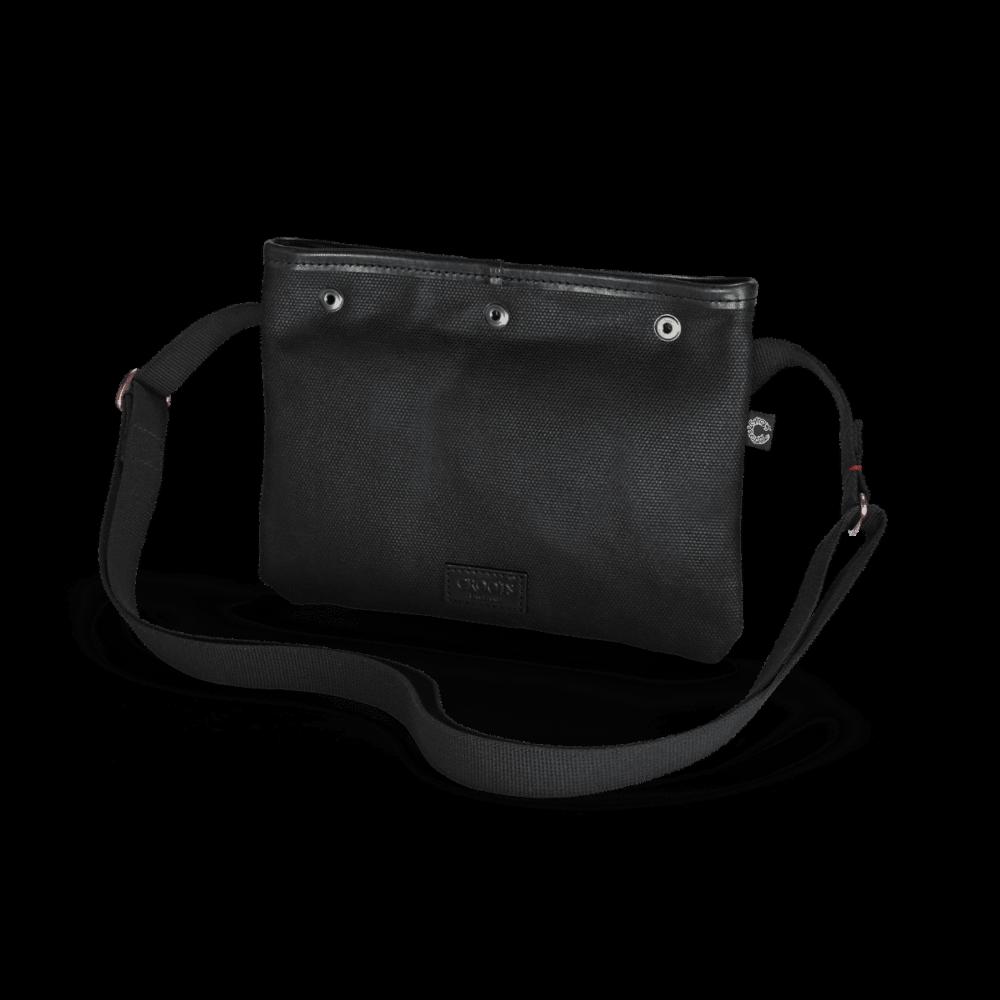 Die schwarze Vintage Sacocht Umhängetasche in der Frontalansicht
