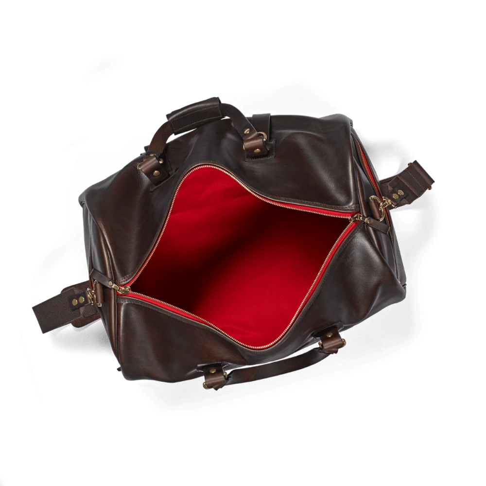 Duffle Bag aus Leder offen Dark Brown