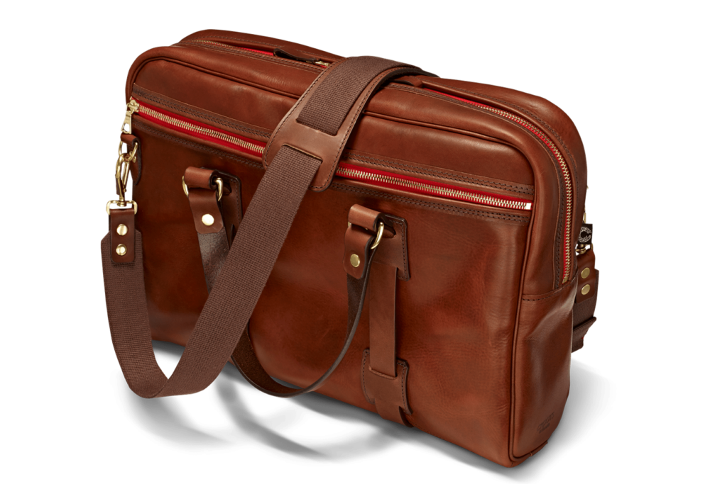 Vintage Leder Laptoptasche in Port