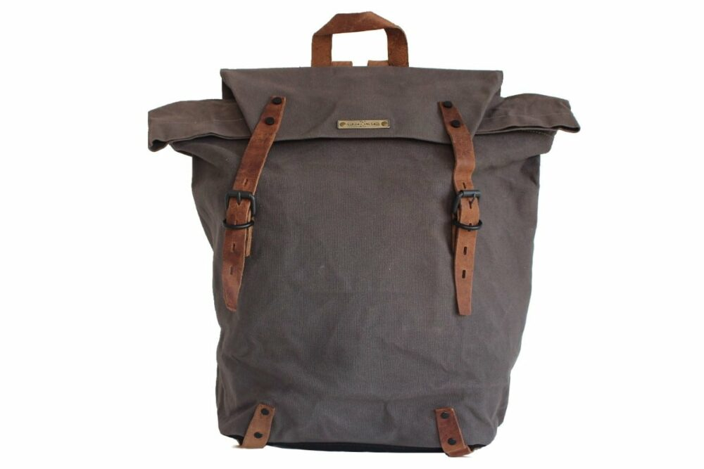 City Rucksack Herren canvas grey Vorne