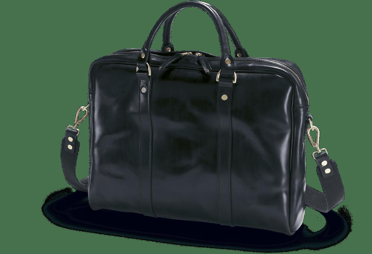 Die Malton Laptop Tasche in Schwarz in der Frontalansicht