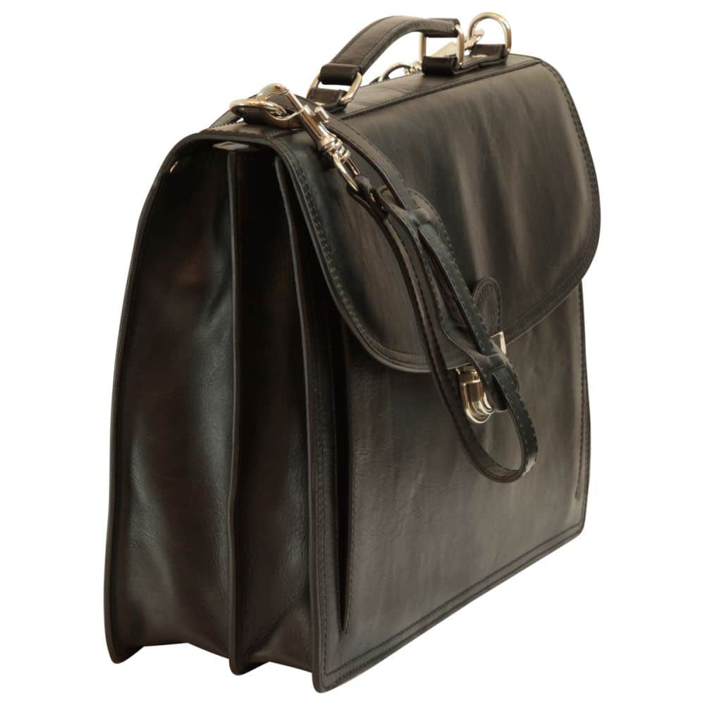 Querstehende Aktentasche mit Lederschultergurt schwarz