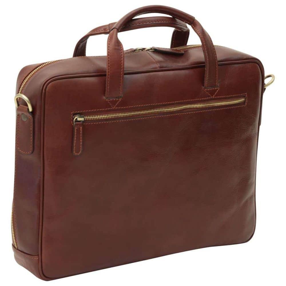 Rückseite Leder Laptoptasche mit Reißverschluss braun
