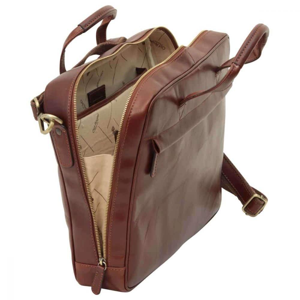 Offene Leder Laptoptasche mit Reißverschluss braun