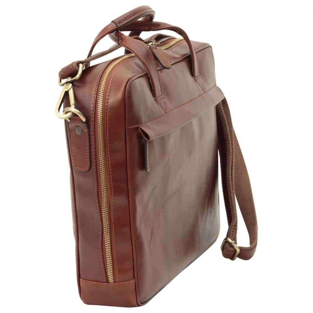 Quer stehende Leder Laptoptasche mit Reißverschluss braun
