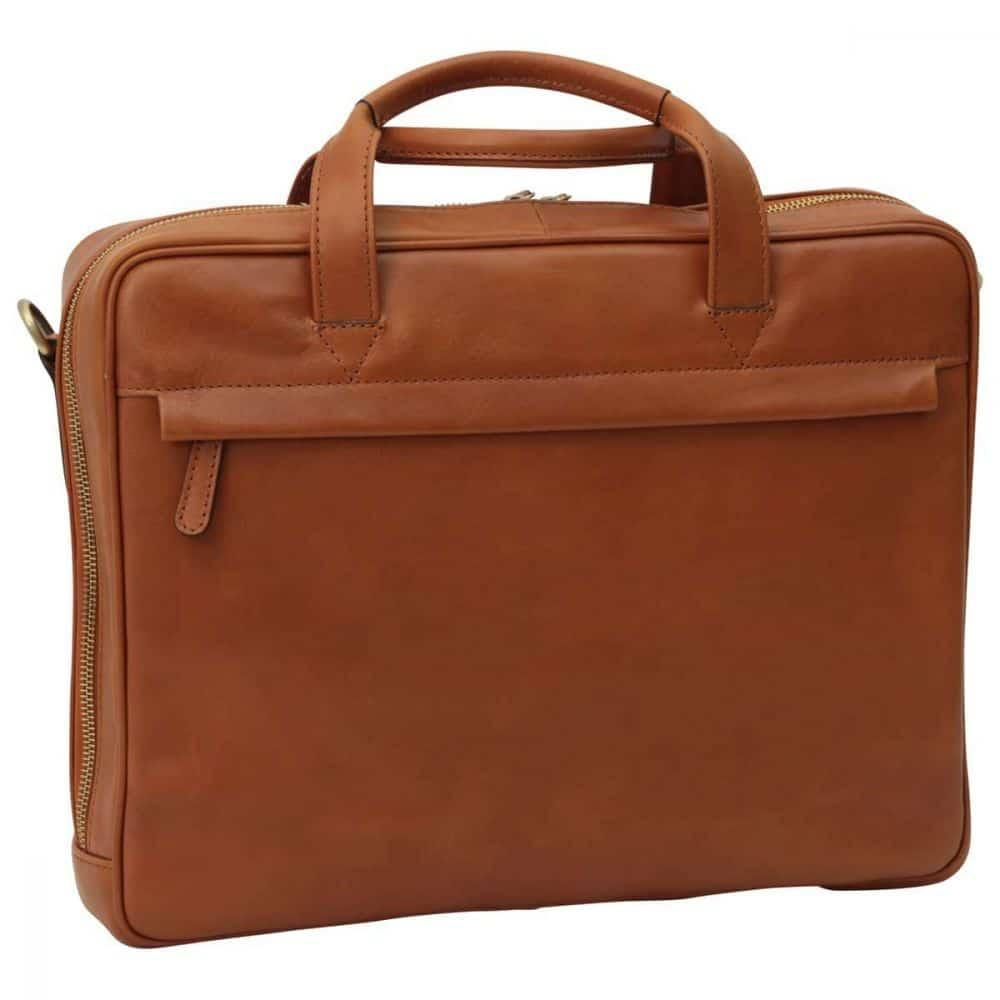 Front Leder Laptoptasche mit Reißverschluss Kolonial