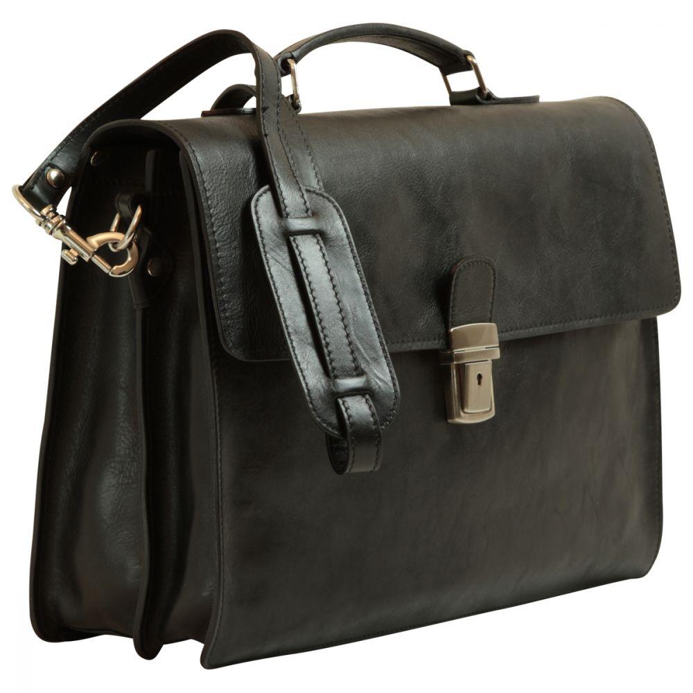 Quer stehende Lederaktentasche schwarz