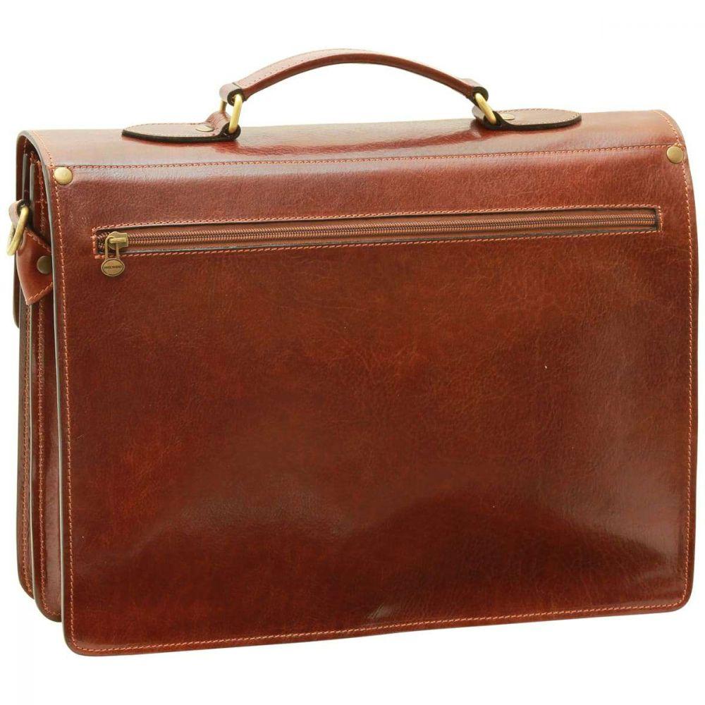 Rückansicht Lederaktentasche braun