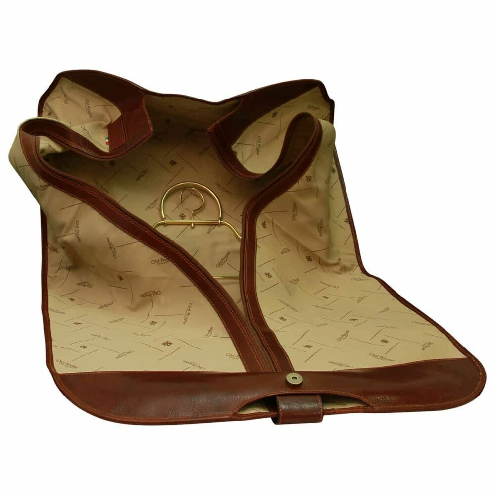 Edle Kleidertasche aus Leder Braun 1