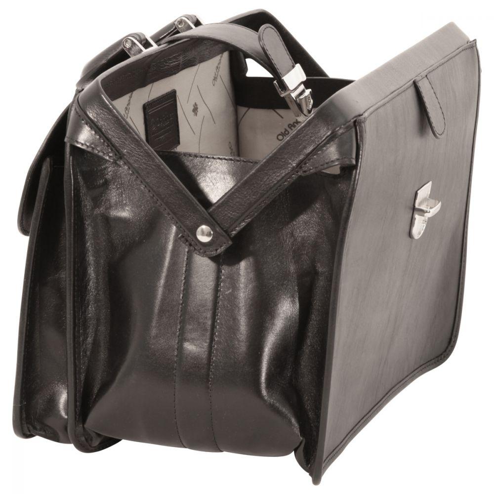 Weit offene Arzttasche aus Leder schwarz