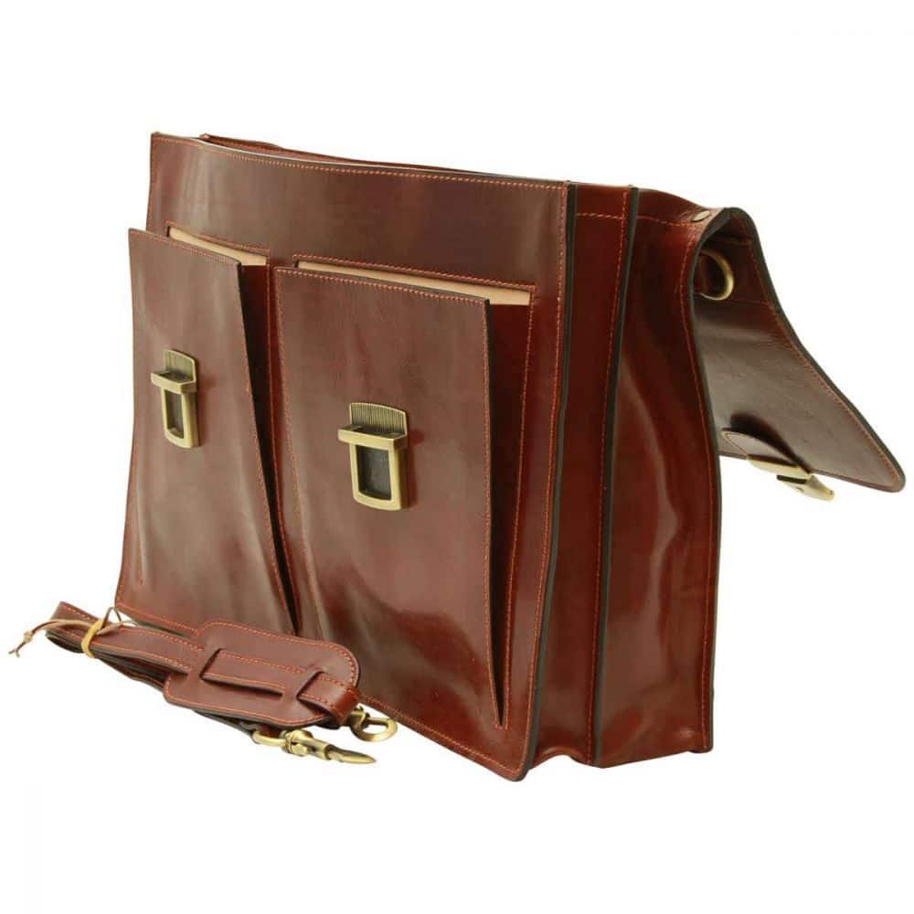 Offene Leder-Aktentasche mit 2 Fronttaschen