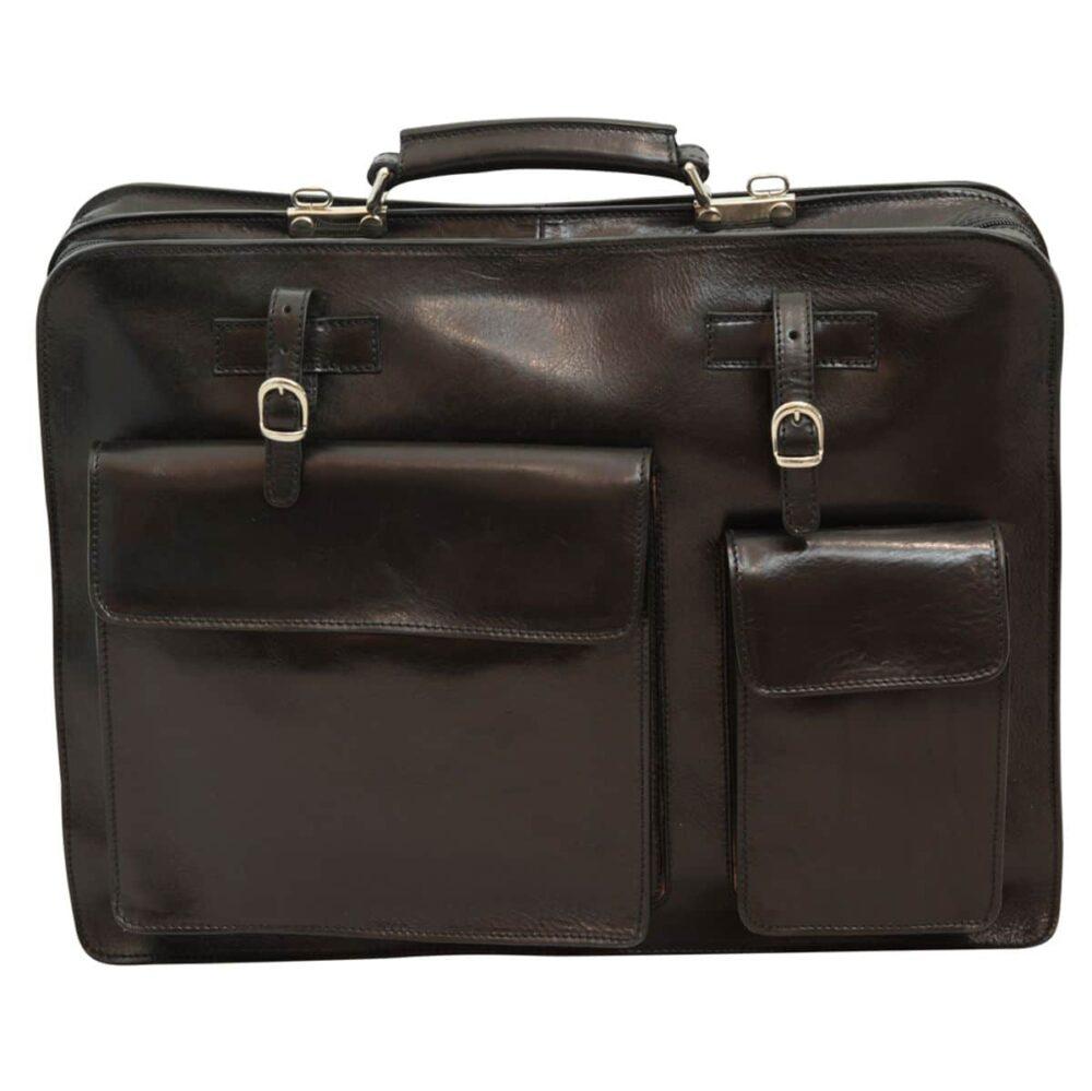 Ledermappe mit Fronttaschen schwarz