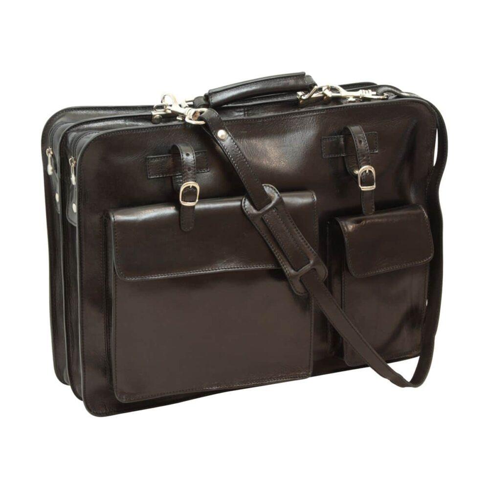 Ledermappe mit Fronttaschen schwarz mit Gurt