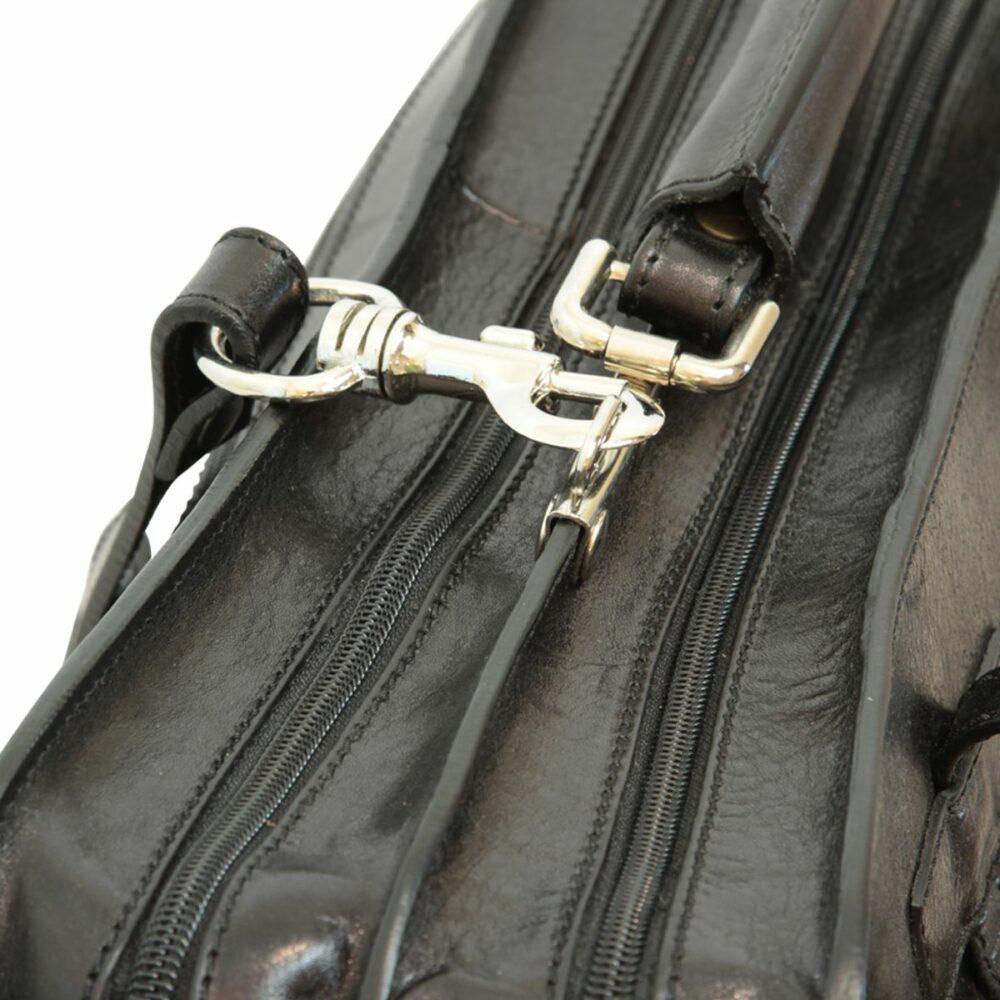 Ledermappe mit Fronttaschen Nah