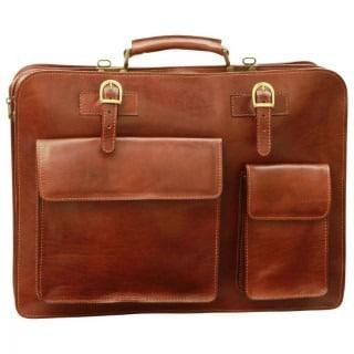 Ledermappe mit Fronttaschen braun