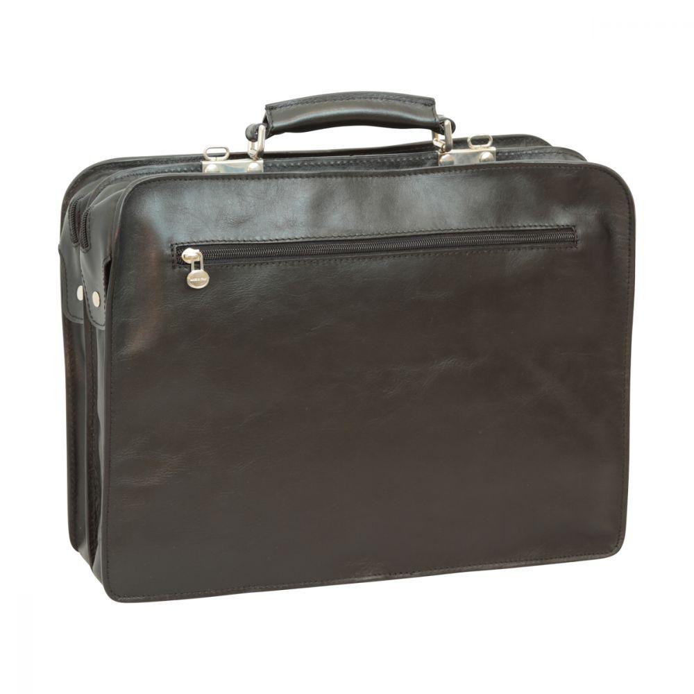 Schwarze Aktentasche mit Lederschnallen rück