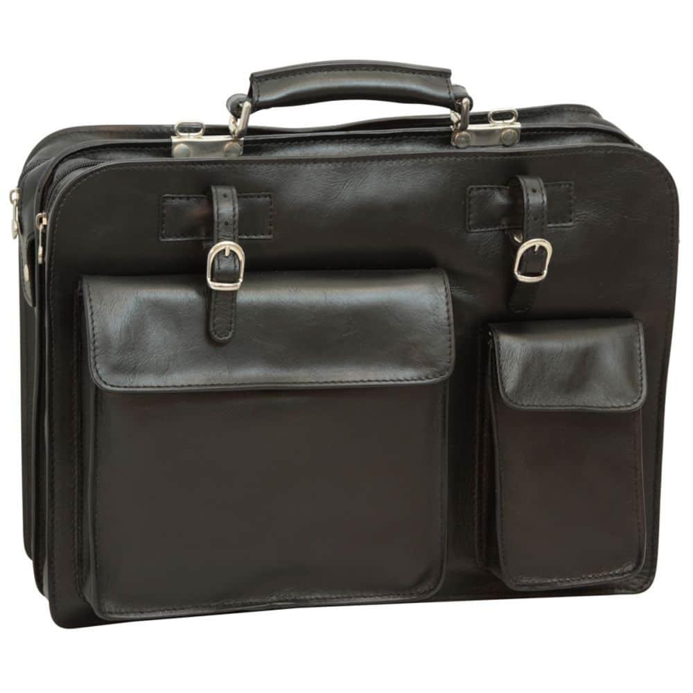 Schwarze Aktentasche mit Lederschnallen front
