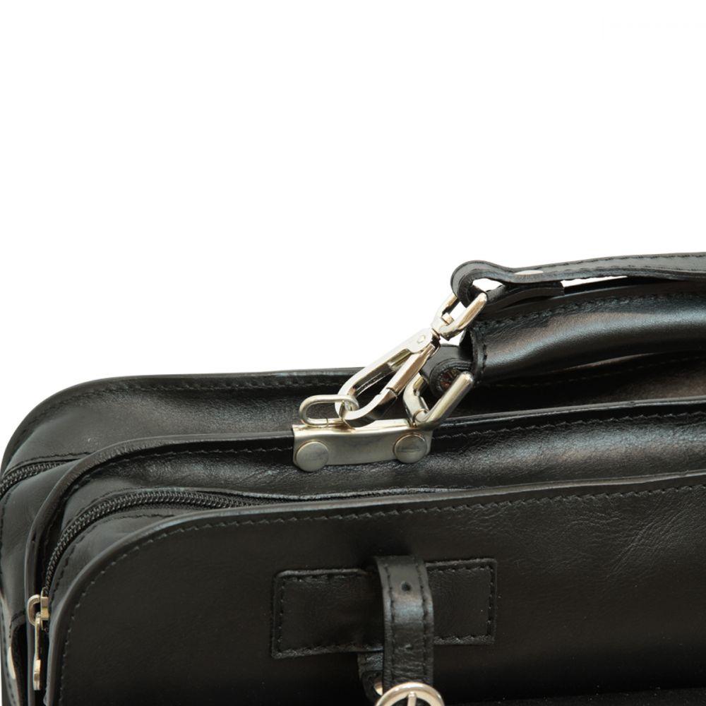 Schwarze Aktentasche mit Lederschnallen oben