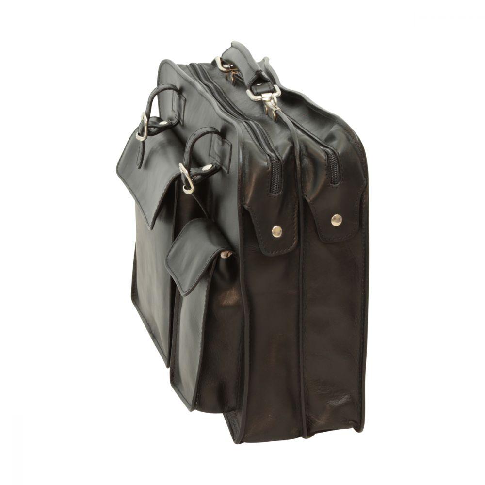 Schwarze Aktentasche mit Lederschnallen seite