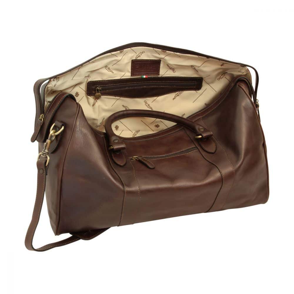 Offene Reisetasche mit Schultergurt dunkelbraun