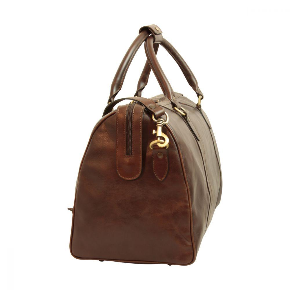 Seitenansicht Reisetasche mit Schultergurt dunkelbraun