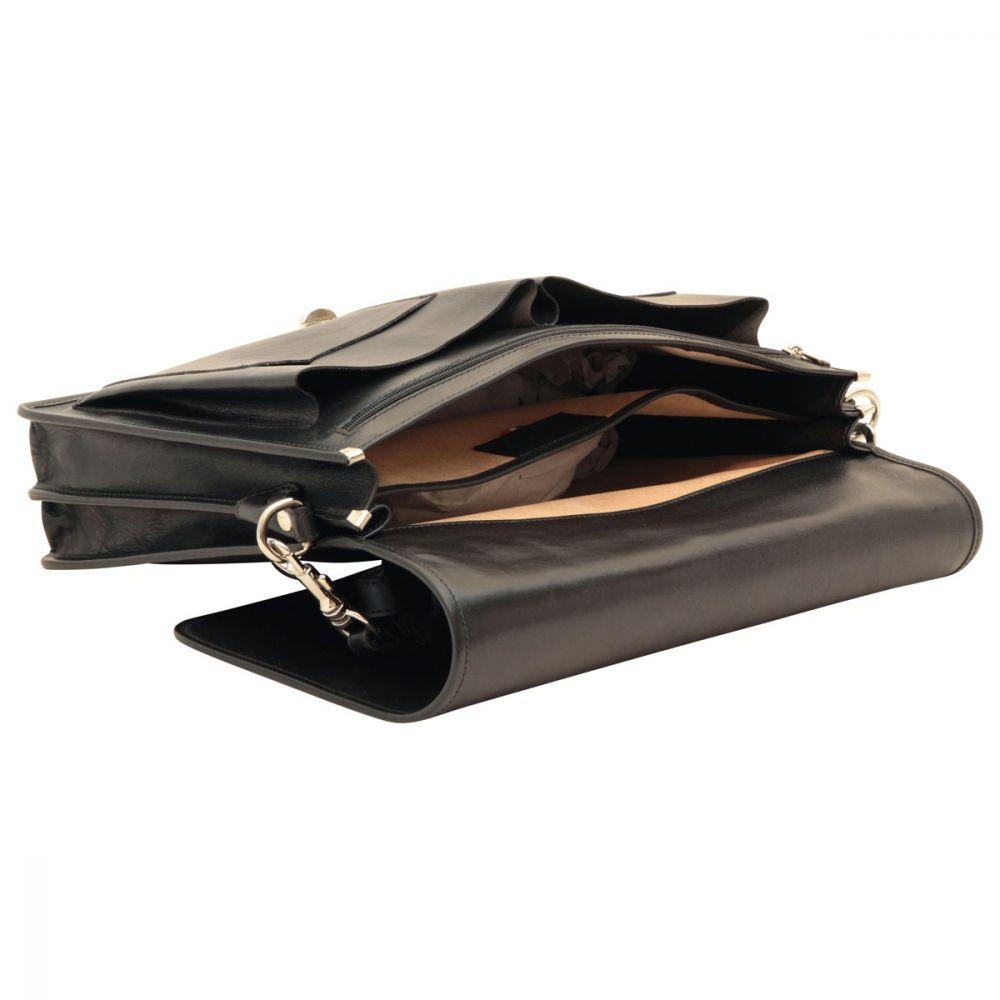 Liegend Aktentasche aus Leder schwarz