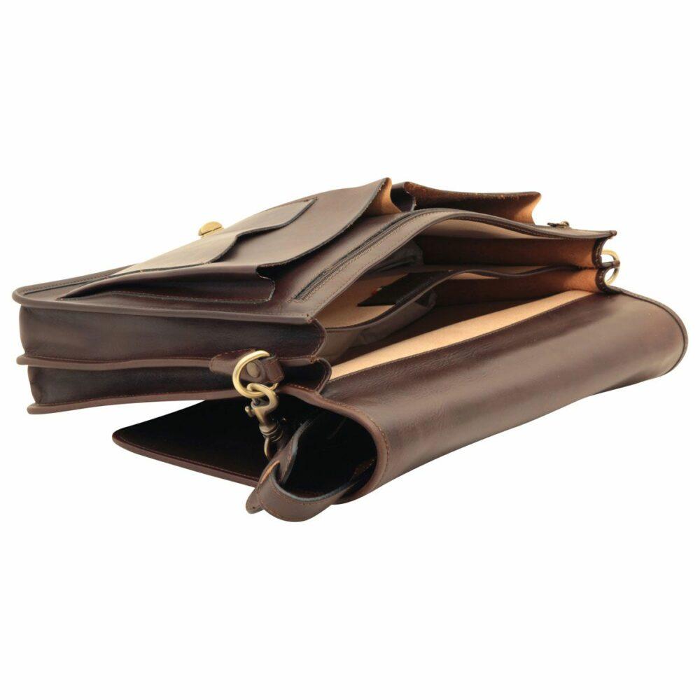 Geöffnete Aktentasche aus Leder dunkelbraun