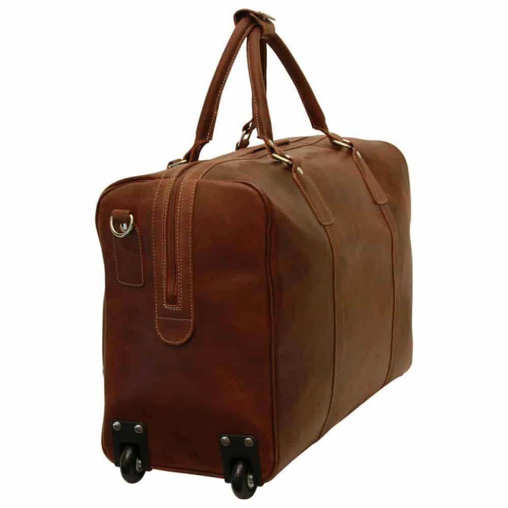 Seite Duffle Bag geöltes Kalbsleder braun