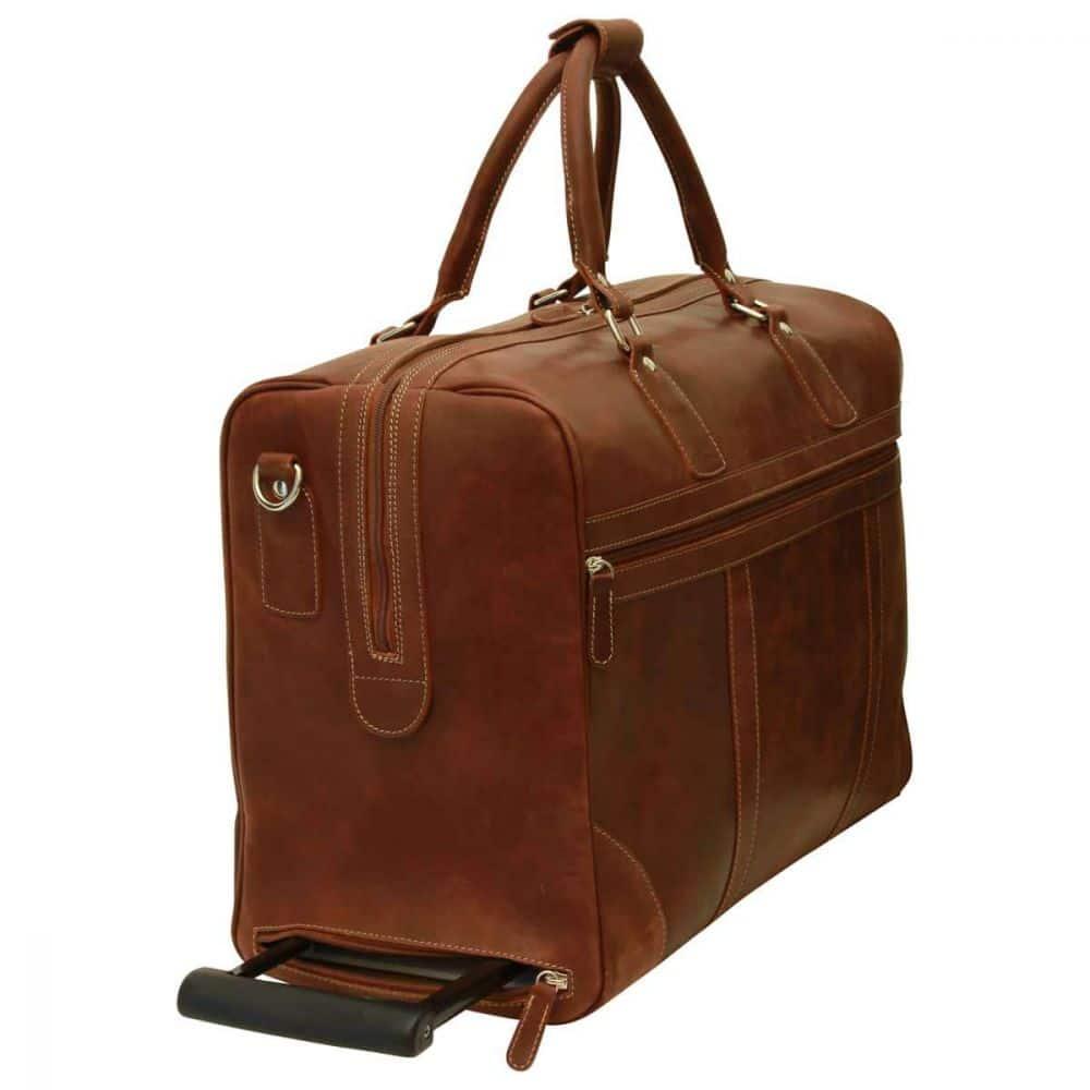 Seitenansicht Duffle Bag geöltes Kalbsleder braun