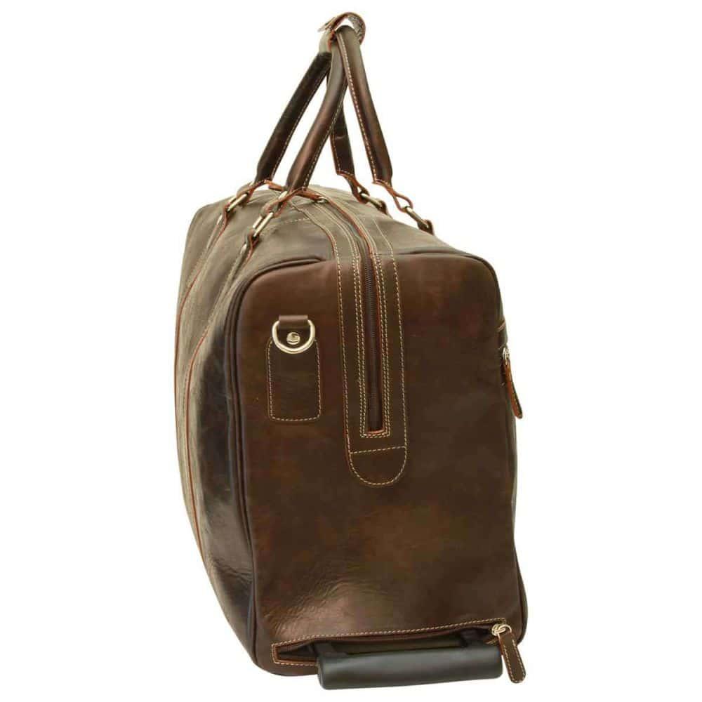 Seite Duffle Bag geöltes Kalbsleder dunkelbraun
