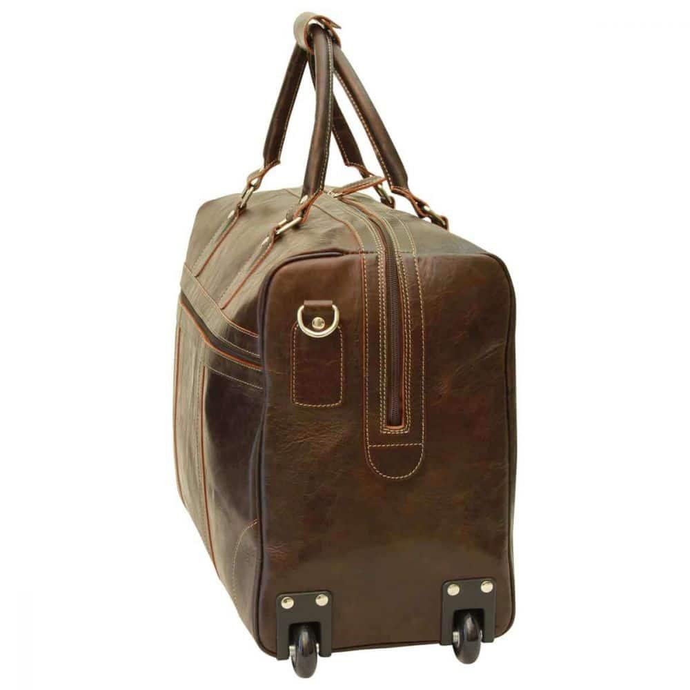 Seitenansicht Duffle Bag geöltes Kalbsleder dunkelbraun