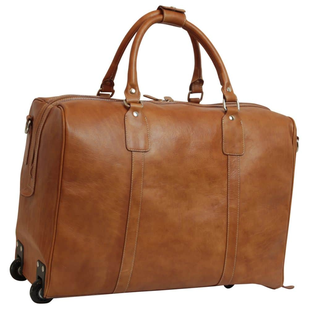 Front Duffle Bag geöltes Kalbsleder kolonial