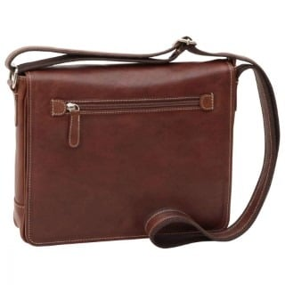Leder Messenger New World Kastanie
