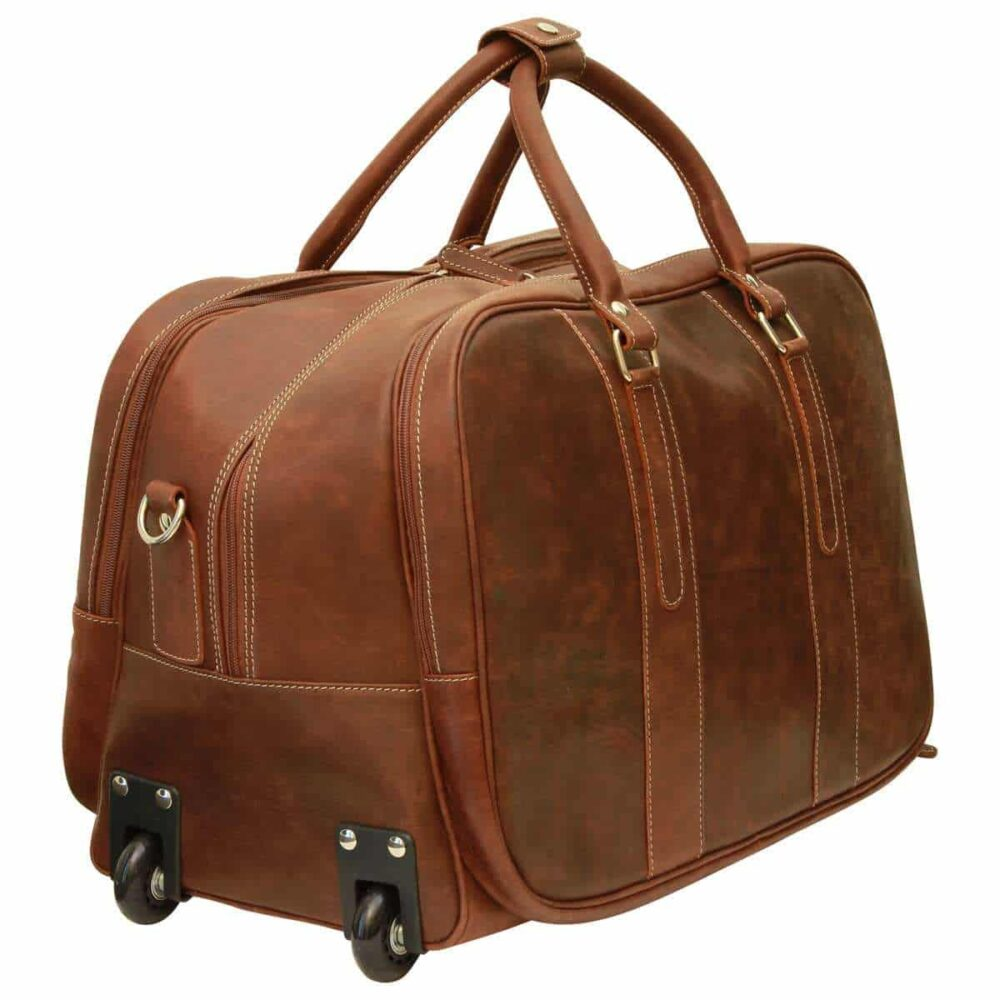 Quer stehende Reisetasche New World Collection Chestnut mit Rollen